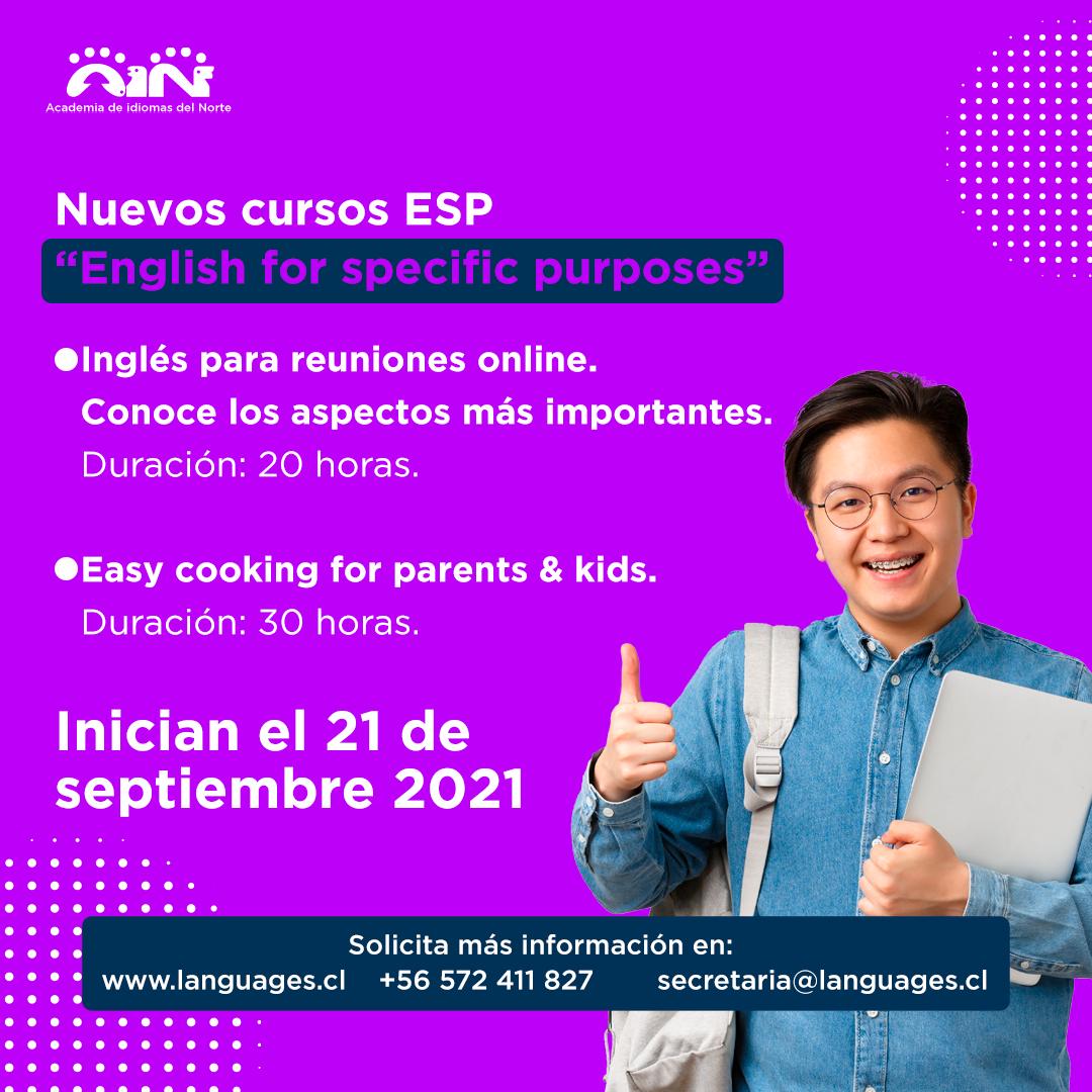 """Nuevos cursos ESP """"English for specific purposes"""""""